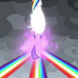 Size: 600x600 | Tagged: safe, screencap, twilight sparkle, alicorn, pony, the ending of the end, spoiler:s09e25, cropped, floating, magic, magic aura, magic of friendship, rainbow, rainbow of harmony, twilight sparkle (alicorn)