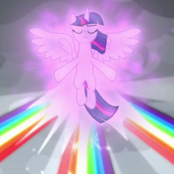 Size: 600x600 | Tagged: safe, screencap, twilight sparkle, alicorn, pony, the ending of the end, spoiler:s09e25, cropped, floating, magic, magic aura, magic of friendship, rainbow, rainbow of harmony, spread wings, twilight sparkle (alicorn), wings