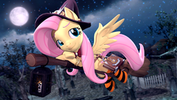 Size: 3840x2160 | Tagged: safe, artist:owlpirate, fluttershy, pegasus, pony, 3d, 4k, book, broom, clothes, colored eyebrows, cute, female, flying, flying broomstick, full moon, halloween, hat, holiday, lantern, mare, moon, mop, night, revamped ponies, shyabetes, smiling, socks, solo, source filmmaker, striped socks, witch, witch hat