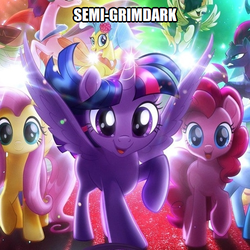 Size: 500x500 | Tagged: safe, fluttershy, pinkie pie, rainbow dash, twilight sparkle, alicorn, earth pony, pegasus, pony, unicorn, my little pony: the movie, caption, image macro, meta, spoiler image, text, twilight sparkle (alicorn)