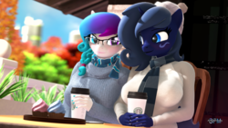 Size: 1920x1080 | Tagged: 3d, anthro, anthro oc, artist:anthroponiessfm, autumn, beanie, blurred background, blushing, clothes, coffee, cupcake, cute, daaaaaaaaaaaw, duo, earth pony, explicit source, female, food, glasses, hat, heterochromia, looking at each other, mare, oc, oc:aurora starling, oc:midnight music, oc only, safe, scarf, signature, source filmmaker, sweater, unicorn