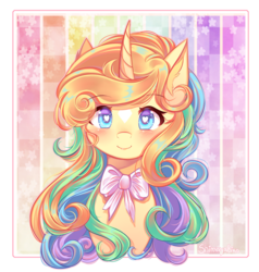 Size: 2500x2624 | Tagged: safe, artist:shimayaeiko, oc, oc only, pony, unicorn, bow, bust, curved horn, female, horn, mare, smiling, solo, wingding eyes