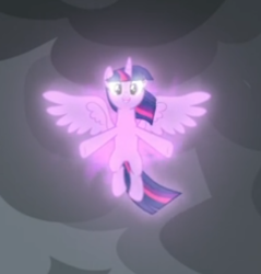 Size: 308x322 | Tagged: safe, screencap, twilight sparkle, alicorn, pony, the ending of the end, spoiler:s09e24, spoiler:s09e25, cloud, cropped, dark clouds, floating, magic, magic aura, smiling, solo, spread wings, twilight sparkle (alicorn), wings