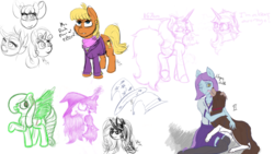 Size: 1920x1080 | Tagged: safe, artist:embroidered equations, artist:huffylime, artist:littlepony115, apple bloom, scootaloo, sweetie belle, oc, oc:embroidered equations, oc:seven, anthro, dog, earth pony, pegasus, pony, unicorn, bow, clothes, collar, cutie mark crusaders, drawpile, drawpile disasters, female, hat, jewelry, mare, mlpds, necklace, pegasus oc, pendant, socks, thigh highs, witch, witch hat
