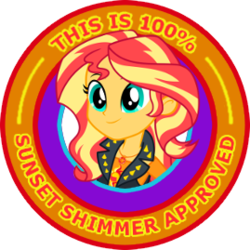 Size: 269x269 | Tagged: safe, sunset shimmer, equestria girls, equestria girls series, approval, clothes, female, geode of empathy, magical geodes, reaction image, seal of approval, simple background, smiling, solo, transparent background, vector