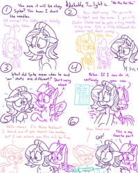 Size: 1280x1611 | Tagged: safe, artist:adorkabletwilightandfriends, doctor horse, doctor stable, nurse redheart, spike, starlight glimmer, twilight sparkle, alicorn, dragon, earth pony, pony, unicorn, comic:adorkable twilight and friends, adorkable, adorkable twilight, bend over, comforting, comic, cute, doctor, dork, female, funny, humor, mare, massage, needles, nervous, poster, reassurance, scared, shot, shrunken pupils, slice of life, sweat, trypanophobia, twilight sparkle (alicorn), vaccination, wide eyes