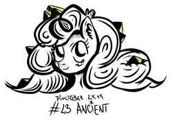Size: 3250x2278 | Tagged: ancient, ancient egypt, artist:coco-drillo, bust, curly mane, ear fluff, earth pony, egypt, inktober, monochrome, ornaments, pinkie pie, pinktober, pony, pyramids, safe, solo, swirls