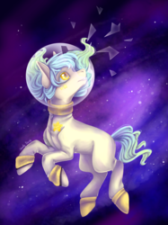 Size: 1046x1395 | Tagged: artist:shady-bush, earth pony, helmet, male, oc, oc:space cadet, pony, safe, solo, space, stallion, this will end in death, this will end in tears, this will end in tears and/or death