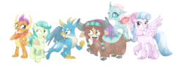 Size: 3301x1243 | Tagged: safe, artist:sintakhra, gallus, ocellus, sandbar, silverstream, smolder, yona, changedling, changeling, classical hippogriff, crystal pony, dragon, griffon, hippogriff, pony, yak, tumblr:studentsix, crystallized, simple background, student six, tongue out, transparent background