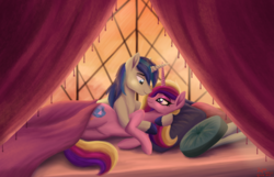 Size: 5998x3852 | Tagged: absurd resolution, alicorn, artist:greenbrothersart, bed, can you feel the love tonight, curtain, cute, female, looking at each other, male, mare, pillow, pony, princess cadance, safe, shining armor, shiningcadance, shipping, stallion, straight, unicorn