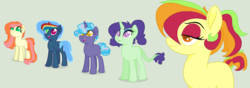 Size: 3815x1343 | Tagged: artist:theredbeauty, base used, blank flank, dracony, hybrid, interspecies offspring, my little pony, next generation, oc, oc:apple blossom, oc:emerald spectacle, oc:golden spirit, oc only, oc:storm breaker, oc:sugar swirl, offspring, parent:applejack, parent:big macintosh, parent:fluttershy, parent:pinkie pie, parent:pokey pierce, parent:rainbow dash, parent:rarity, parents:fluttermac, parent:soarin', parent:spike, parents:pokeypie, parents:soarindash, parents:sparity, pony, safe