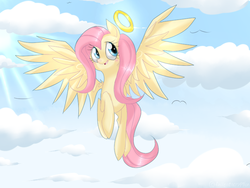 Size: 800x600 | Tagged: safe, artist:lifelspain, fluttershy, pegasus, pony, angel, blushing, cloud, cute, female, fluttershy the angel, flying, halo, implied death, looking away, looking sideways, looking up, mare, open mouth, shyabetes, sky, solo, spread wings, wings