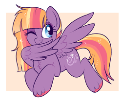 Size: 800x667 | Tagged: safe, artist:lulubell, oc, oc only, oc:mistral morning, pegasus, pony, female, magical lesbian spawn, mare, offspring, one eye closed, parent:twilight sparkle, parent:windy whistles, parents:twindy, solo, unshorn fetlocks, wink