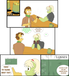 Size: 4208x4672 | Tagged: safe, artist:matchstickman, grand pear, granny smith, anthro, earth pony, comic:free cider, arm wrestling, biceps, breasts, busty granny smith, cider, clothes, comic, dialogue, duo, female, floppy ears, gloves, granny smash, male, mare, muscles, onomatopoeia, scoreboard, shirt, simple background, speech bubble, stallion, table, white background, young grand pear, young granny smith, younger