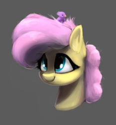 Size: 348x373 | Tagged: safe, artist:whiskeypanda, fluttershy, bird, pony, alternate hairstyle, bust, female, low res image, mare, nest, nesting instinct, practice drawing, simple background, sitting on head, small resolution, smiling, solo, three quarter view