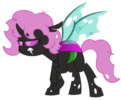 Size: 4688x3906 | Tagged: artist:besttubahorse, changeling, changeling oc, fangs, oc, oc:ælaña, oc only, pink changeling, raised hoof, safe, scowl, simple background, solo, transparent background, vector