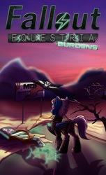 Size: 1700x2800 | Tagged: safe, artist:elmutanto, artist:lightning5trike, oc, oc:trade wind, oc:ward, pegasus, pony, fallout equestria, fallout equestria: burdens, bone, cover, skeleton, story cover