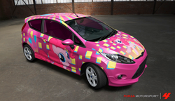 Size: 1108x640 | Tagged: safe, artist:nrxia, pinkie pie, earth pony, pony, car, ford, ford fiesta, forza motorsport, forza motorsport 4, game screencap, solo, video game