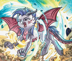 Size: 1280x1092 | Tagged: safe, artist:red-watercolor, oc, oc only, oc:dawn sentry, bat pony, dragon, hybrid, pony, bat wings, blood, claws, dragon tail, fangs, female, horns, injured, mare, screaming, solo, traditional art, transformation, watercolor painting, wings