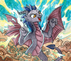 Size: 1280x1092 | Tagged: safe, artist:red-watercolor, oc, oc only, oc:dawn sentry, dragon, pony, bat wings, claws, cloud, dragonified, fangs, female, forest, growling, horns, mare, solo, species swap, transformation, wings