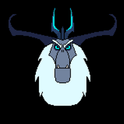 Size: 637x639 | Tagged: 8-bit, antagonist, artist:gojilion91, black background, crown, eyebrows, fangs, hair, head, head shot, horns, jewelry, looking at you, my little pony: the movie, regalia, safe, simple background, solo, storm king, yeti