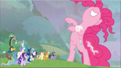 Size: 1669x943 | Tagged: safe, screencap, applejack, discord, fluttershy, pinkie pie, princess celestia, princess luna, rainbow dash, rarity, starlight glimmer, twilight sparkle, alicorn, draconequus, earth pony, pegasus, pony, unicorn, the ending of the end, spoiler:s09e24, spoiler:s09e25, bipedal, chaos pinkie, chocolate, chocolate rain, cropped, female, food, giant pony, jewelry, macro, male, mane six, mare, nose in the air, peytral, rain, regalia, royal sisters, size difference, smiling, twilight sparkle (alicorn)