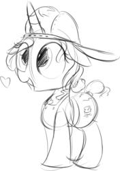 Size: 789x1121 | Tagged: safe, artist:taurson, fresh coat, pony, unicorn, backwards ballcap, baseball cap, cap, cute, floppy ears, hat, heart, lineart, sketch, smol, solo