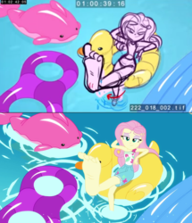 Size: 1193x1385 | Tagged: safe, edit, fluttershy, human, equestria girls, equestria girls series, i'm on a yacht, spoiler:eqg series (season 2), barefoot, comparison, feet, flutterfeet, legs, storyboard, swimming pool, wiggling toes