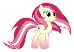 Size: 1062x752 | Tagged: dead source, safe, artist:tigerbeetle, roseluck, pony, flowing mane, high res, obtrusive watermark, rainbow power, rainbow power-ified, simple background, solo, transparent background, watermark
