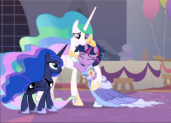 Size: 1305x940 | Tagged: safe, screencap, princess celestia, princess luna, twilight sparkle, alicorn, pony, the last problem, all is well, alternate hairstyle, balloon, cropped, crown, ethereal mane, eyes closed, female, flowing mane, folded wings, goodbye, hoof shoes, hug, jewelry, mare, messy mane, proud, regalia, retirement, royal sisters, second coronation dress, siblings, sisters, teacher and student, trio, twilight sparkle (alicorn), wings