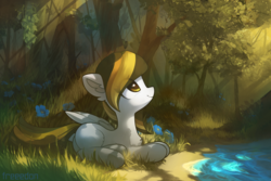 Size: 3000x2000 | Tagged: artist:freeedon, commission, crepuscular rays, female, flower, forest, mare, nameless oc, oc, oc only, pegasus, pony, safe, scenery, solo