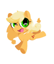 Size: 500x587 | Tagged: safe, artist:penpale-heart, applejack, earth pony, pony, chibi, cute, hatless, jackabetes, missing accessory, open mouth, simple background, solo, transparent background