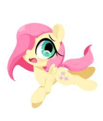Size: 500x587 | Tagged: safe, artist:penpale-heart, fluttershy, pegasus, pony, chibi, cute, hair over one eye, open mouth, shyabetes, simple background, solo, transparent background