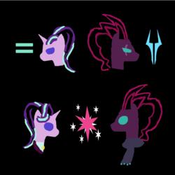 Size: 1400x1400 | Tagged: abstract, black background, bust, clothes, cutie mark, digital art, equal sign, haiku, happy birthday mlp:fim, headmare starlight, mlp fim's ninth anniversary, redemption, s5 starlight, safe, scarf, simple background, sketch, starlight glimmer, storm king's emblem, tempest shadow, twilight sparkle