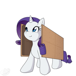 Size: 2000x2000 | Tagged: safe, artist:silverfox057, rarity, pony, unicorn, chocolate, cute, female, food, graham cracker, raribetes, rarity is a marshmallow, s'mores, simple background, solo, white background