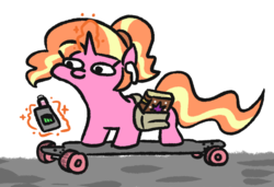 Size: 749x513   Tagged: safe, artist:jargon scott, luster dawn, pony, unicorn, the last problem, airpods, book, cool, earbuds, electronic cigarette, female, hipster, longboard, lustie, magic, mare, millennial luster dawn, saddle bag, simple background, skateboard, skateboarding, solo, squatpony, telekinesis, vape, vape pen, white background, woonoggles, zoomer