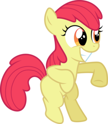 Size: 3000x3444 | Tagged: accessory-less edit, .ai available, apple bloom, apple family reunion, artist:cloudyglow, bipedal, dancing, earth pony, edit, editor:slayerbvc, female, filly, grin, happy, missing accessory, pony, safe, simple background, smiling, solo, transparent background, vector, vector edit