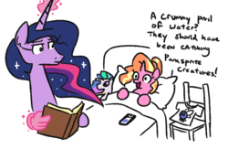 Size: 887x577 | Tagged: alicorn, artist:jargon scott, bed, blanket, boomer, boomer humor, cellphone, clothes, duo, female, luster dawn, mare, millennial luster dawn, parasprite, phone, pillow, pokémon, pokémon go, ponified meme, pony, princess celestia, princess twilight 2.0, safe, shirt, simple background, smartphone, spoiler:s09e26, the last problem, twilight sparkle, twilight sparkle (alicorn), unicorn, white background, zoomer