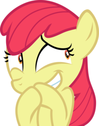 Size: 4185x5306 | Tagged: safe, artist:frownfactory, edit, editor:slayerbvc, vector edit, apple bloom, earth pony, pony, campfire tales, accessory-less edit, excited, faic, female, filly, grin, happy, missing accessory, reaction image, simple background, smiling, solo, transparent background, vector