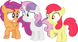 Size: 4008x2167 | Tagged: accessory-less edit, apple bloom, artist:tourniquetmuffin, cutie mark crusaders, earth pony, edit, editor:slayerbvc, female, filly, missing accessory, nervous, pegasus, safe, scootaloo, simple background, sweetie belle, transparent background, twilight time, unicorn, vector, vector edit