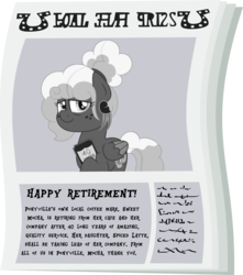 Size: 4633x5250 | Tagged: absurd resolution, artist:besttubahorse, award, bun, female, foal free press, grayscale, mlp fim's ninth anniversary, monochrome, newspaper, oc, oc only, oc:sweet mocha, older, pegasus, plaque, safe, simple background, solo, text, transparent background, vector
