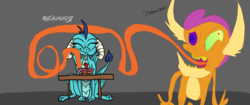 Size: 4096x1714 | Tagged: artist:metalhead97, artist:supmandude, cake, collaboration, cute, dragon, dragoness, female, food, funny, gem, gem cake, mlp fim's ninth anniversary, princess dragonlord ember, princess ember, safe, simple background, sitting, smolder, trippy, wat, what has science done