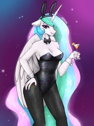 Size: 1536x2048   Tagged: safe, artist:siripim111, princess celestia, alicorn, anthro, alcohol, bowtie, breasts, bunny ears, bunny suit, bunnylestia, busty princess celestia, cleavage, clothes, cuffs (clothes), drink, female, glass, hand on hip, leotard, looking at you, mare, pantyhose, playboy bunny, solo
