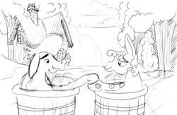Size: 1237x808 | Tagged: artist:ciaran, bathtub, cialis meme, cloud, crankilda, cranky doodle donkey, derpibooru exclusive, donkey, duo, female, holding hooves, house, looking at each other, male, matilda, mlp fim's ninth anniversary, safe, shipping, sketch, smiling, straight, tree