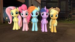 Size: 3840x2160 | Tagged: safe, artist:rainboom dash, applejack, fluttershy, pinkie pie, rainbow dash, twilight sparkle, alicorn, pony, 3d, mlp fim's ninth anniversary, source filmmaker, twilight sparkle (alicorn)