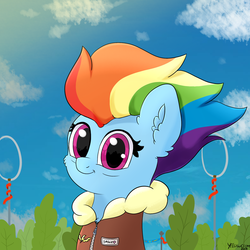 Size: 2000x2000 | Tagged: safe, artist:yelowcrom, rainbow dash, pegasus, pony, the last problem, spoiler:s09e26, bomber jacket, bust, captain, clothes, jacket, looking at you, mlp fim's ninth anniversary, older, older rainbow dash, portrait, solo