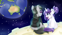 Size: 7680x4320 | Tagged: safe, artist:partylikeanartist, oc, oc:faulty, oc:indigo wire, changeling, pony, unicorn, australia, aviator glasses, aviators, back, clothes, earth, faultigo, galaxy, glasses, gradient hooves, hoodie, moon, new zealand, oc x oc, planet, ponytail, ray ban, shade, shipping, space, stars, tail wrap, to the moon, youtube
