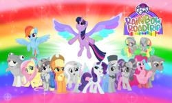 Size: 5123x3057 | Tagged: safe, artist:andoanimalia, artist:aqua-pony, artist:cheezedoodle96, artist:jhayarr23, artist:joemasterpencil, artist:shutterflyeqd, artist:suramii, applejack, barley barrel, fluttershy, kerfuffle, moody root, petunia petals, pickle barrel, pinkie pie, rainbow dash, rainbow trout (character), rarity, sunny skies, torque wrench, twilight sparkle, alicorn, my little pony: the movie, rainbow roadtrip, spoiler:rainbow roadtrip, colored wings, mane six, multicolored wings, rainbow wings, twilight sparkle (alicorn), wallpaper, wing bling, wings