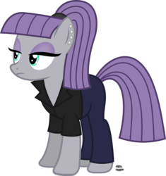 Size: 1335x1420   Tagged: safe, artist:anime-equestria, maud pie, earth pony, pony, alternate hairstyle, clothes, ear piercing, eyeshadow, female, hairband, jacket, jeans, makeup, pants, piercing, ponytail, simple background, solo, transparent background, vector
