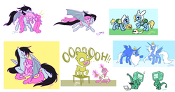 Size: 2512x1323 | Tagged: safe, artist:yamino, bat pony, pony, adventure time, bmo, finn the human, fionna the human, ice king, ice queen, lemongrab, marceline, mouth hold, ponified, princess bubblegum